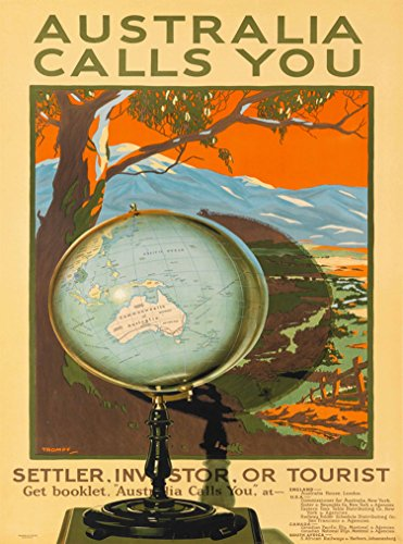 (A SLICE IN TIME Australia Calls You Globe Map Australian Vintage Travel Advertisement Art Poster Print. Poster measures 10 x 13.5 inches)