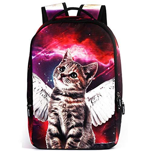 MIYA LTD 3D Cartoon Backpacks Boys,Unisex Fashion Rucksack Laptop Travel Bag Glowing College Bookbag Children's Schoolbag Teenager's Cute Backpack 3D Galaxy Print - Red Cat by MIYA LTD (Image #2)