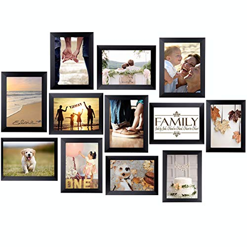 Homemaxs 12 Pack Picture Frames Collage Photo Frames Wall Gallery Kit for Wall and Home 5x7 in(Black)