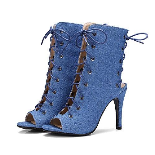 Stivali Caviglia Slingback Delle Sottili Alti Sexy Peep Blu Alla Tacchi Odetina Donne Sandali Toe Con Lacci 4xxtfq