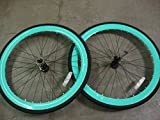 FIXIE Bike Flip Flop Hub Bicycle Fixed Wheels Rims Tire Green 700c x 25c