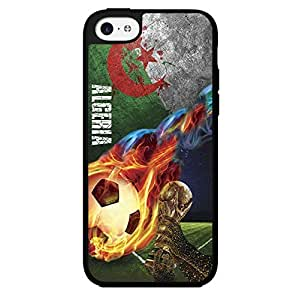 Green, Red, and White Grunge Algeria Team Flag with Colorful Fiery Soccer Ball Hard Snap on Phone Case (iPhone 5c)