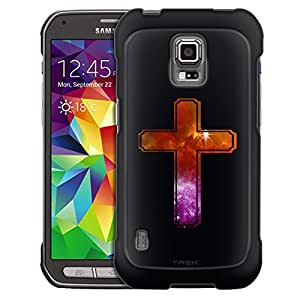Samsung Galaxy S5 Active Case, Slim Fit Snap On Cover by Trek Nebula Yellow Purple Cross on Black Case