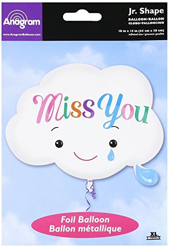Anagram 33678 Miss You Cloud Shape Foil Balloon, 18