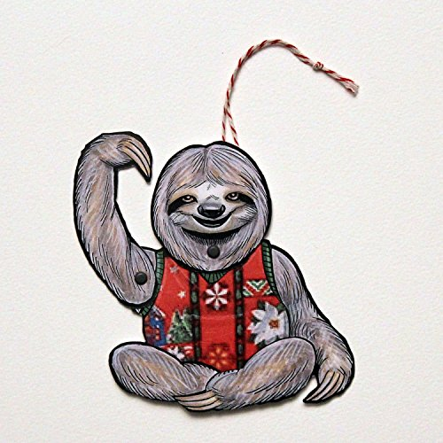 Sloth Ugly Sweater Jointed Gift Tag or Christmas Ornament, Mini Rainforest Animal Paper Doll