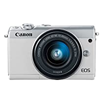 Canon EOS M100 2210C011 Mirrorless Camera w/ 15 45mm Lens   Wi Fi, Bluetooth and NFC Enabled  White  Digital SLR Cameras