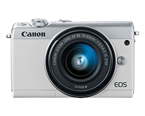 Canon Eos M100 Mirrorless Camera w/15-45mm Lens - Wi-Fi, Bluetooth, and NFC Enabled (White)