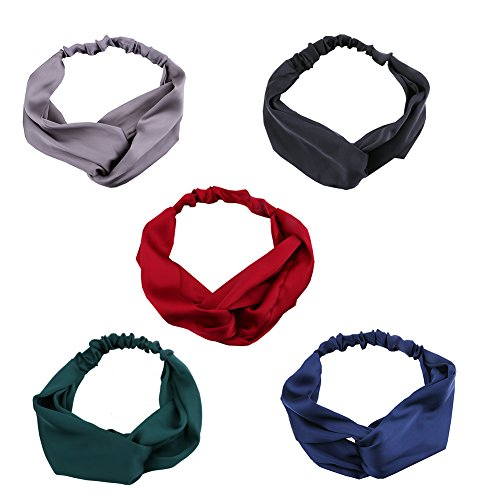 Headband for Women,Driew Girls Silk Satin Elastic Head Wrap headbands Turban Twisted Knotted - Pack of 5, 5 Colors