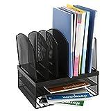 DRROT Mesh Desktop Organizer with 6 Vertical/2 Horizontal Sections, Black