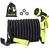 Sunflora 50 ft Expandable Garden Hose Bonus 10 feet with Solid Brass Fittings and 9 Patterns Spray Nozzle, Flexible No Kink Water Hoses for Lawn Total 60 Feet (60 ft)
