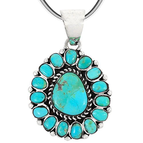 Sterling Silver Turquoise Cluster Pendant (Turquoise Pendant Necklace in Sterling Silver (SELECT from different styles) (Cluster))