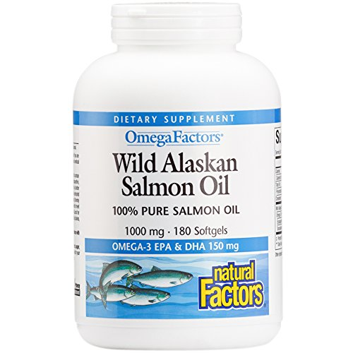 Natural Factors - Wild Alaskan Salmon Fish Oil 1000 mg, Omega-3 EPA and DHA, 180 (Salmon Oil Benefits)