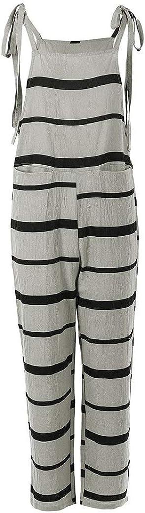 Zimaes-Women Straight Linen Pockets Striped Weekend Jumpsuits Bib Trousers