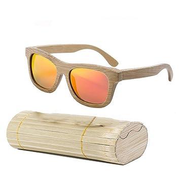 Delisouls Mujer Hombre Gafas de Sol, Madera Bambú Gafas de ...