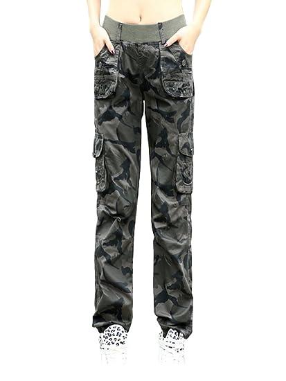 c23e1f0806e3 OCHENTA Femme Pantalon Cargo En Coton Camouflage Combat  Amazon.fr   Vêtements et accessoires