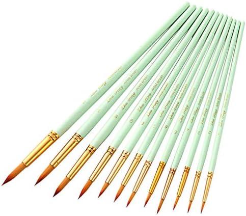 Artibetter 12ピースラウンドペイントブラシセット木製ナイロンアートブラシプロフェッショナル水彩オイルブラシ描画用アク