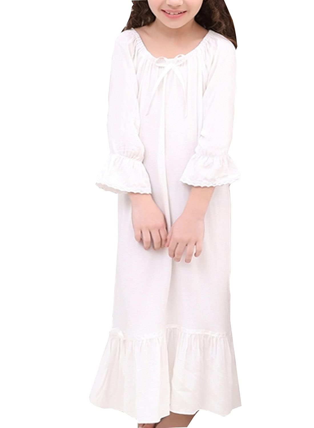 BAIYIXIN Little Girls Long Sleeve White Nightgown Robe Sleepwear Dress(3y-10y)