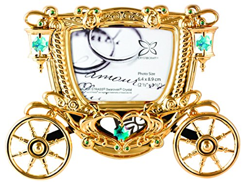 Gold Plated Carriage Photo Frame with Swarovski Element Crystal - Also Suitable for Wedding or for All Occasions