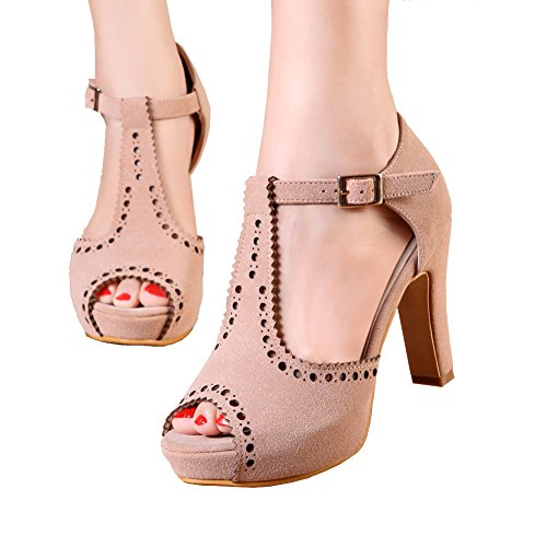 getmorebeauty Women's Beige Vintage Suede Ankle T Straps Dress Block Heeled Sandals Pumps 8 B(M) US - Ankle Tie Pump