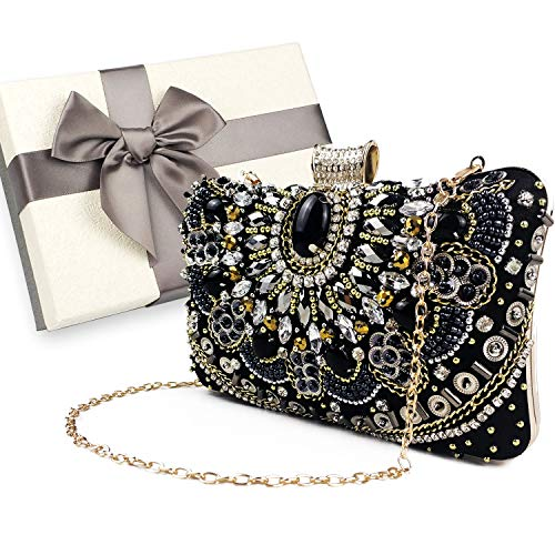Womens Evening Bag/Clutch,Vintage Handmade Wedding Party Handbag/Purse/Party Bag, Packed in Gift Box(Black-Beaded)