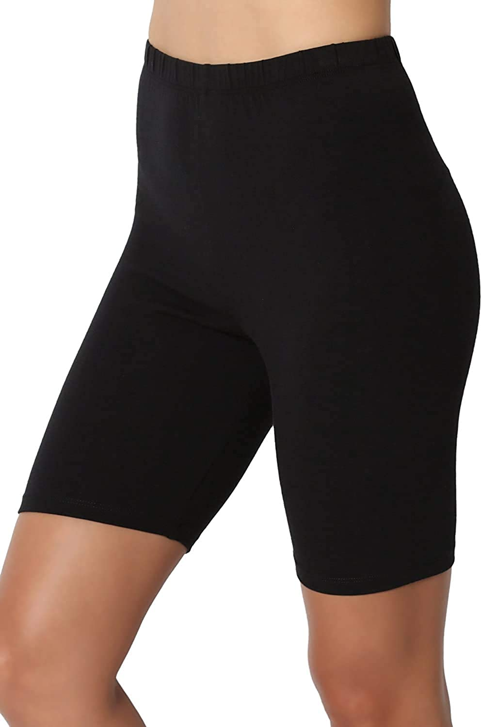 UEJUNBO Mid Thigh Stretch Cotton Span High Waist Active Five Points Short Leggings