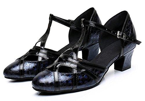Tda Donna Tacco Medio In Pelle Pu Tango Da Ballo Latino Partito Scarpe Da Ballo Cm101 Stampa 5cm Nero
