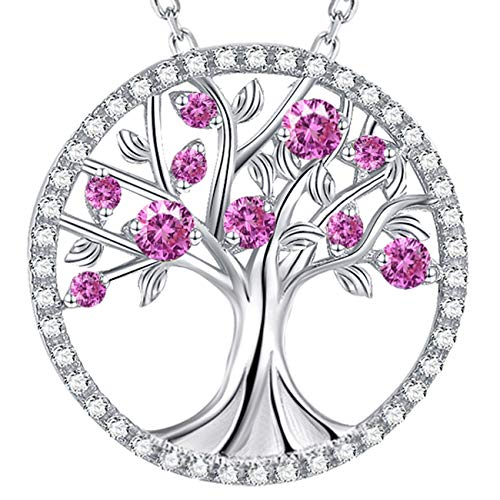 Elda&Co Tree of Life Necklace Sterling Silver Jewelry Gifts for Women LC Pink Tourmaline Necklace Birthday Gifts for Mom Wife Love ()