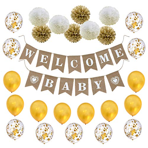 LOLOAJOY Burlap Welcome Baby Banner with Paper Pom Poms Flowers and Latex Balloons Gold Confetti Balloons for Baby Shower Bridal Shower Party Supplies Decoration - Baby Shower Streamer