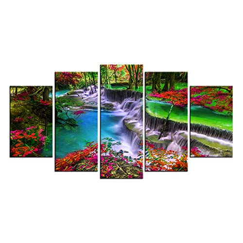 (LevvArts - 5 Pieces Forest Canvas Wall Art Waterfall River Picture Prints Vivid Nature Landscape Painting Giclee Artwork Framed for Kitchen Wall Decoration Moderen Home Office Decor)