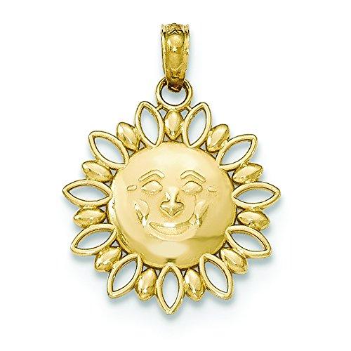 Gold Smiling Sun Charm - 14K Yellow Gold Smiling Sun Charm Pendant