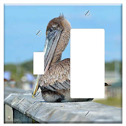 1-Toggle 1-Rocker/GFCI Combination Wall Plate Cover - Pelican Bird Resting Fishing Pier Avian Water (Pier One Plates Bird)