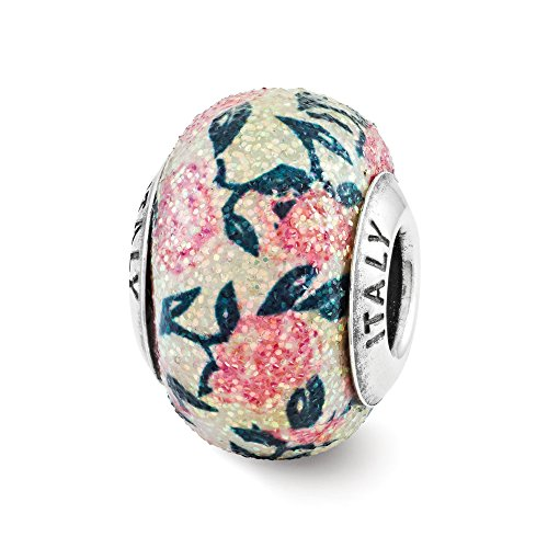 Textured Pink Floral Overlay Italian Glass & Sterling Silver (Floral Italian Charm)