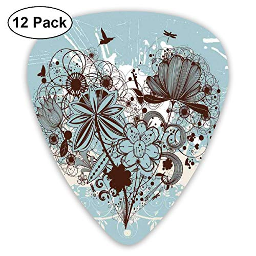 Guitar Picks - Abstract Art Colorful Designs,Silhouette Bouquet Of Flowers In Heart Shape With Dragonflies,Unique Guitar Gift,For Bass Electric & Acoustic Guitars-12 Pack