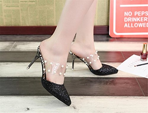 Mule Dress Slippers Pointed Backless Black Buckle Slides for LYLIFE Toe Kitten Women 1 Heels Sandals PpAqd