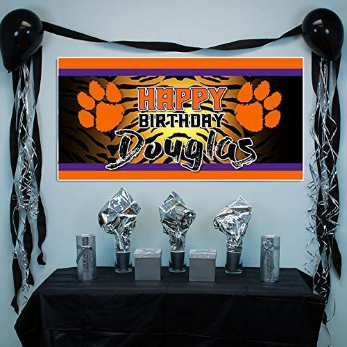 Clemson Tiger College Football Banner Party Decoration Backdrop