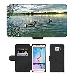 Hot Style Cell Phone Card Slot PU Leather Wallet Case // M00108586 Ducks Mallard Drake Male Swimming // Samsung Galaxy S6 (Not Fits S6 EDGE)