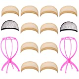 SEIKEA 2 Wig Stand Holder (Pink) +10 PC Nylon Wig Caps(Skin Color, Nude Transparent Beige) with 2 PC Mesh Wig Caps (Black)