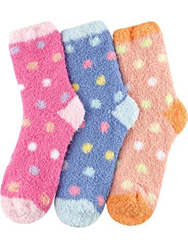 HASLRA Soft Warm Microfiber Fuzzy Premium Socks 3 Pairs (DOT1)