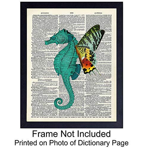 Seahorse Butterfly On Photo of Dictionary Page - Unframed Wall Art Print - Great Affordable Nautical Gift - Beautiful Beach or Lake House Home Decor - Ready to Frame (8x10) - Nautical Prints Antique