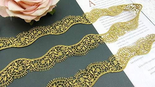 FidgetKute 2Y Beautiful Venice Venise Lace Trim~Scalloped~Deep Gold~Fancy Stage~Gorgeous~