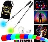 LED Poi - Glow Poi - Strobe effect LED Glow Poi by Flames N Games +Travel Bag!