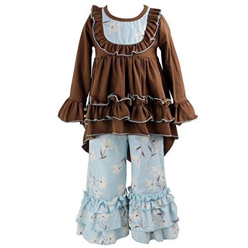 Wennikids Girls Clothes Outfit Kids Ruffle Shirts Dress Boutique Bell Pants Set Small Brown