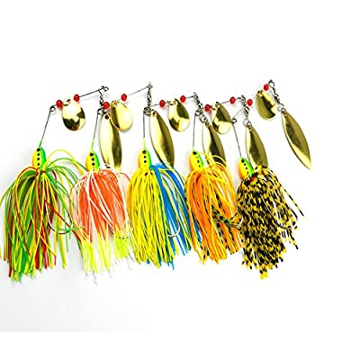 Apusale Hard Spinner Lure Spinnerbait Kit Mix Colors Bass Bait Minnow Fishing Lures Set Floating Popper for Bass and Trout Hard Plastic with Tackle Hooks