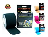 Kinesiology Tape - Downloadable Kinesiology Taping Instructions (Finger Print tape) Professional Quality - 2 in. x 16.4 ft Uncut Rolls - Water Resistant Tape - Sport Tape - Kinesio Tape - Black