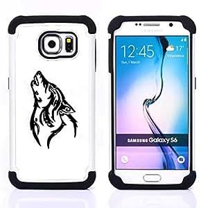 - HOWL WOLF WHITE BLACK HOUND DOG - - Doble capa caja de la armadura Defender FOR Samsung Galaxy S6 G9200 RetroCandy