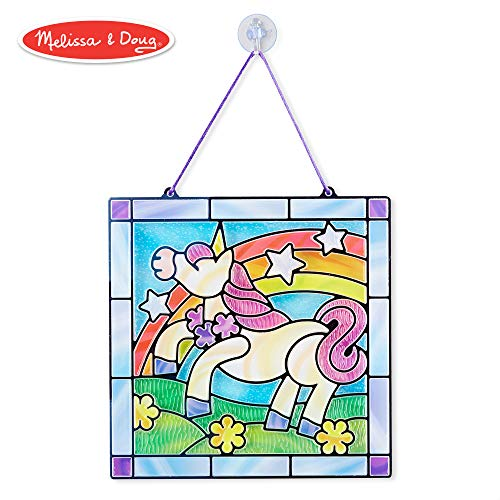 Melissa & Doug Stained Glass Made Easy Activity Kit, Arts and Crafts, Develops Problem Solving Skills, Unicorn, 70+ Stickers ()