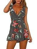 YiKeZhiXiu Women's Summer Casual Floral Ruffle Backless Spaghetti Strap Beach Romper Shorts Jumpsuit