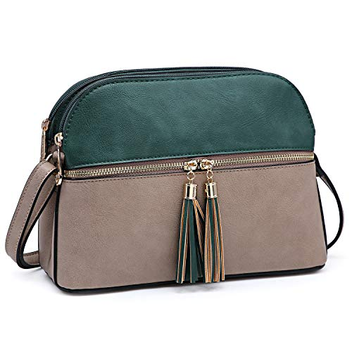 - Functional Multi Pockets Lightweight Medium Crossbody Bags Purses for Women Double Zipper Shoulder Messenger Bag with Tassel (Dark Green/Stone)