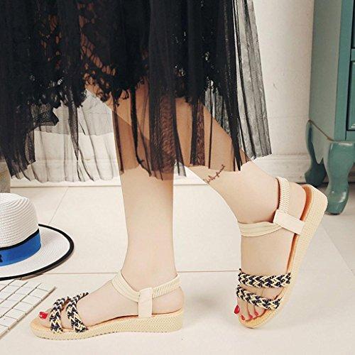 Deesee (tm) Femmes Chaussures Plates Soild Bohemia Loisirs Lady Sandales Peep-toe Chaussures Dextérieur Beige