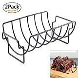 Aolvo Rib Rack, Non-Stick Reversible Roast Roasting Rack Outdoor Indoor Grill Rack for Charcoal Grills Smokers Grilling Barbecuing 2 Pack